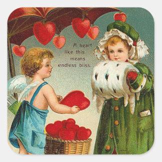 Pegatinas de la tarjeta del día de San Valentín Calcomanías Cuadradas Personalizadas