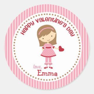 Pegatinas de la tarjeta del día de San Valentín Pegatina Redonda