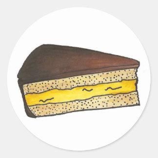 Pegatinas de la tarta de crema de Boston Pegatina Redonda