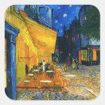 Pegatinas de la terraza de Van Gogh Café Calcomania Cuadradas Personalizada