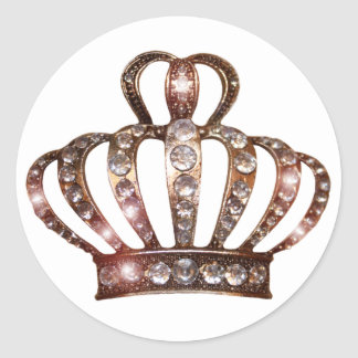 Pegatinas de la tiara del oro pegatina redonda