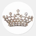 Pegatinas de la tiara y de las gemas etiqueta redonda