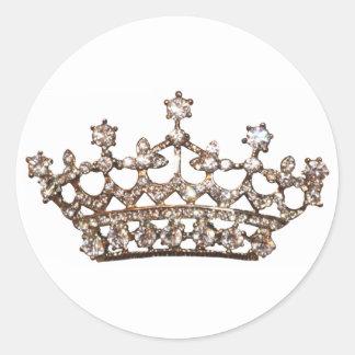 Pegatinas de la tiara y de las gemas pegatina redonda
