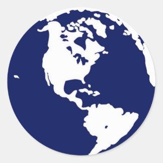 Pegatinas de la tierra del planeta en azul y pegatina redonda