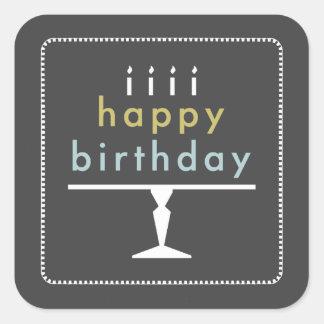 Pegatinas de la tipografía del feliz cumpleaños pegatina cuadrada