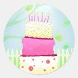 Pegatinas de la torta de cumpleaños etiquetas redondas