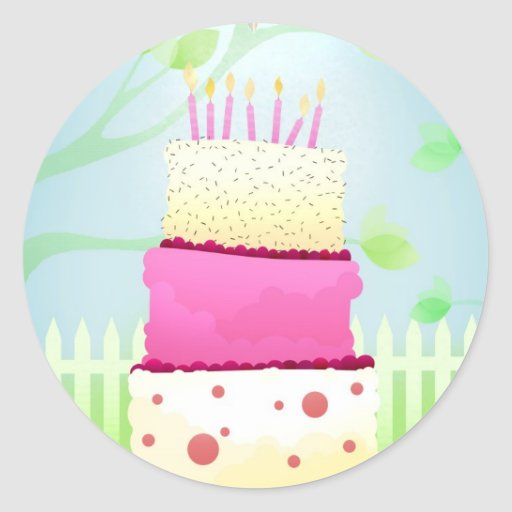 Pegatinas de la torta de cumpleaños