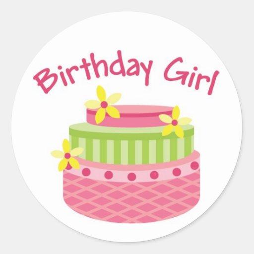 Pegatinas de la torta del chica del cumpleaños pegatina redonda