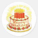 Pegatinas de la torta del feliz cumpleaños del etiquetas redondas