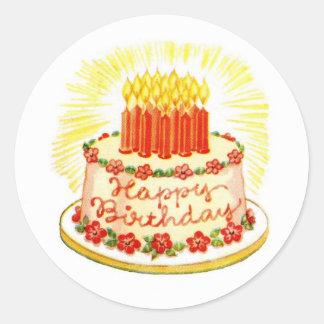 Pegatinas de la torta del feliz cumpleaños del pegatina redonda