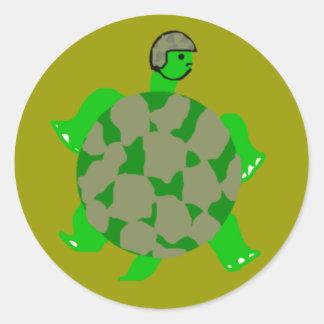 Pegatinas de la tortuga de Camo Etiqueta Redonda