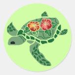 Pegatinas de la tortuga de mar de la flor del pegatina redonda