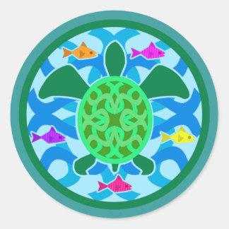 Pegatinas de la tortuga de mar verde pegatina redonda