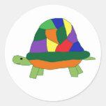 Pegatinas de la tortuga del arco iris pegatinas redondas