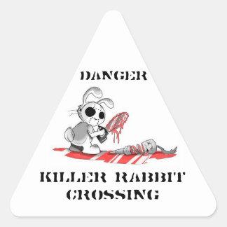Pegatinas de la travesía del conejo del asesino pegatina triangular