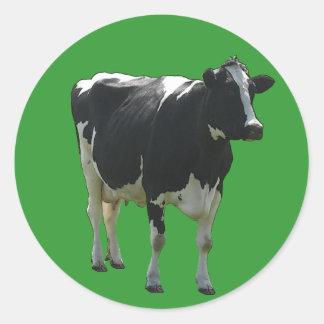 Pegatinas de la vaca etiqueta redonda