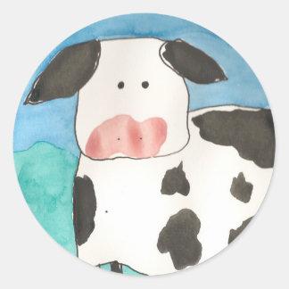 Pegatinas de la vaca pegatinas redondas
