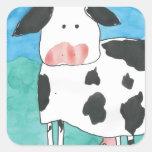 Pegatinas de la vaca calcomania cuadradas