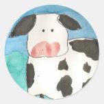 Pegatinas de la vaca pegatina redonda