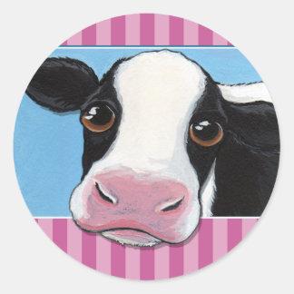 Pegatinas de la vaca/sellos caprichosos lindos del pegatinas redondas
