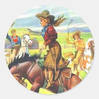 Pegatinas de la vaquera del vintage pegatina redonda