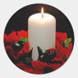 Pegatinas de la vela del navidad pegatinas redondas