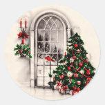 Pegatinas de la ventana del navidad del vintage pegatinas redondas