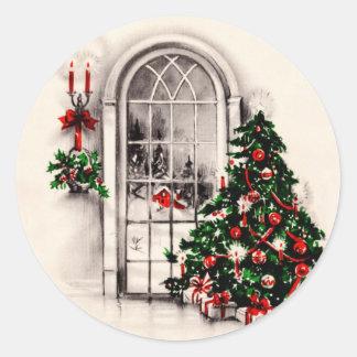Pegatinas de la ventana del navidad del vintage pegatina redonda