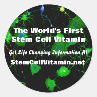 Pegatinas de la vitamina de la célula madre pegatina redonda