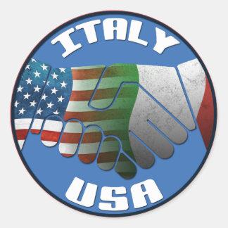 Pegatinas de las banderas de Italia los E.E.U.U. Pegatinas Redondas