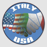 Pegatinas de las banderas de Italia los E.E.U.U. Pegatina Redonda