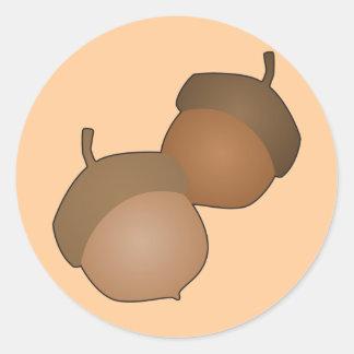 Pegatinas de las bellotas pegatina redonda