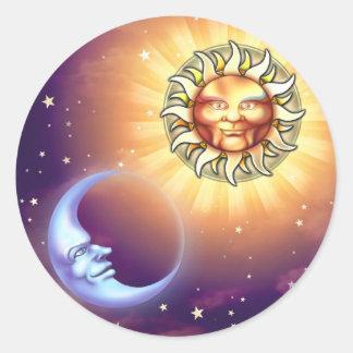 Pegatinas de las caras de Sun y de luna