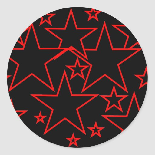 Pegatinas de las estrellas del rojo y del negro pegatina redonda
