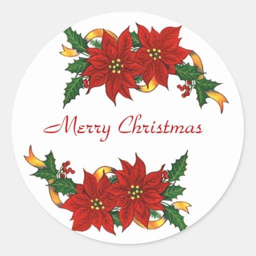 PEGATINAS de las Felices Navidad Etiqueta Redonda