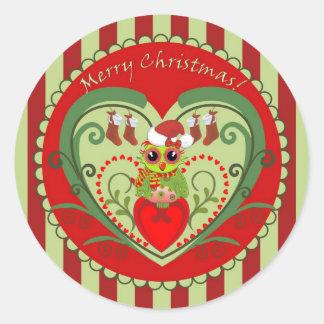 Pegatinas de las Felices Navidad con el búho lindo Pegatina Redonda