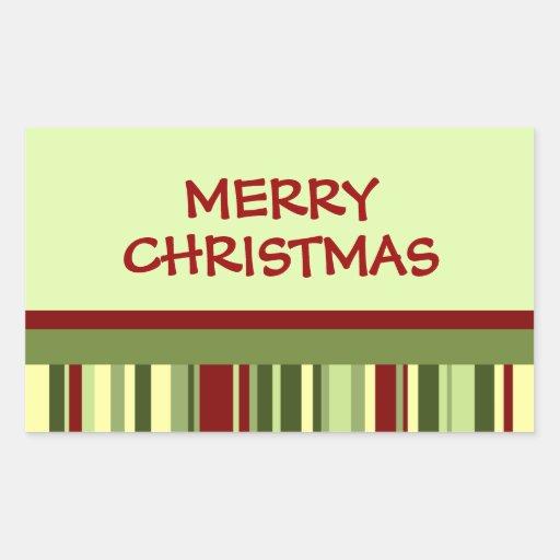 Pegatinas de las Felices Navidad de las rayas del Pegatina Rectangular