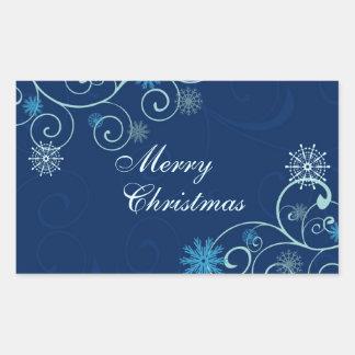 Pegatinas de las Felices Navidad del copo de nieve Pegatina Rectangular