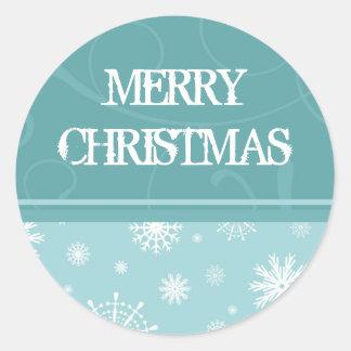 Pegatinas de las Felices Navidad del copo de nieve Pegatina Redonda
