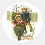 Pegatinas de las Felices Navidad del vintage Etiqueta Redonda