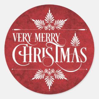 Pegatinas de las Felices Navidad muy Pegatina Redonda