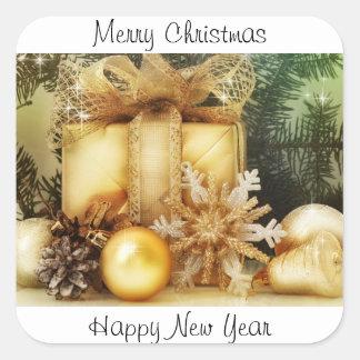 Pegatinas de las Felices Navidad y de la Feliz Año Calcomanias Cuadradas