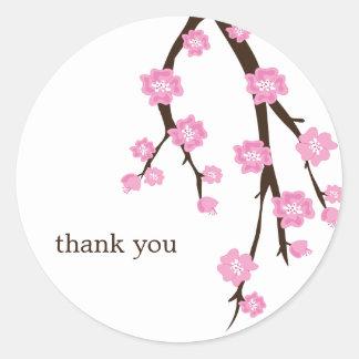 Pegatinas de las flores de cerezo etiqueta redonda