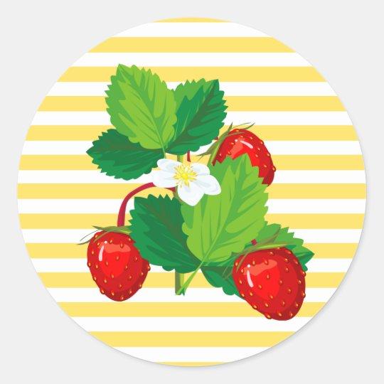 Pegatinas de las fresas pegatina redonda