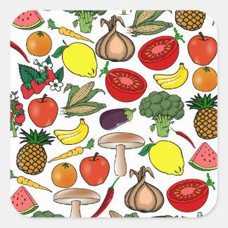 Pegatinas de las frutas y de los Veggies Pegatina Cuadrada