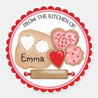 Pegatinas de las galletas del día de San Valentín Pegatina Redonda