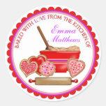 Pegatinas de las galletas del día de San Valentín