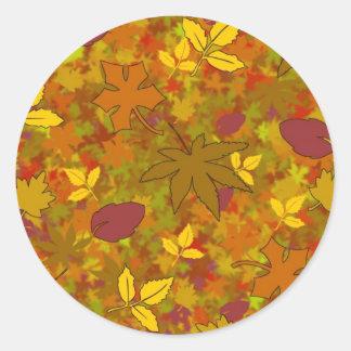 Pegatinas de las hojas de otoño etiquetas redondas