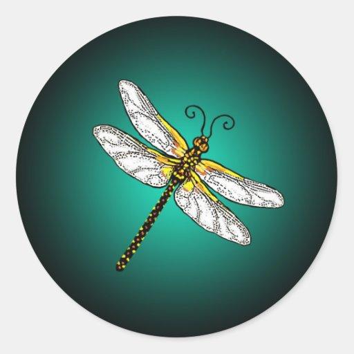 Pegatinas de las libélulas de la libélula de la pegatina redonda