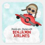 Pegatinas de las líneas aéreas del cumpleaños pegatina cuadradas personalizadas